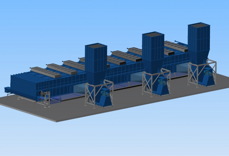Belt dryer for sawdust and woodchips